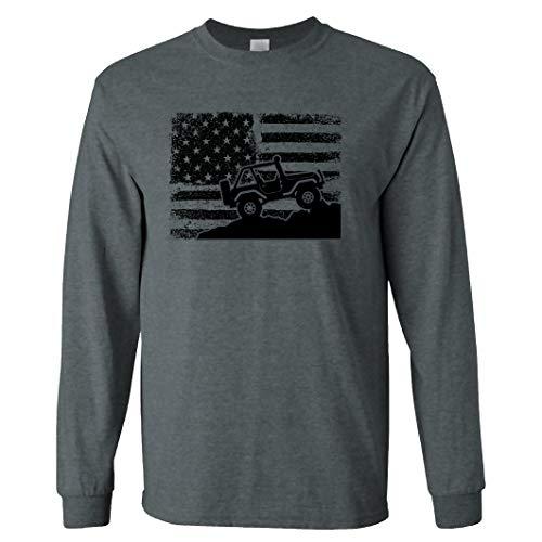American US Flag 4X4 Off-Road on a Long Sleeve Dark Heather T Shirt