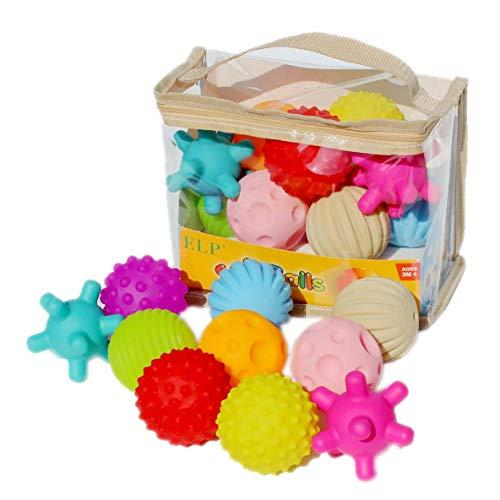 nbvmngjhjlkjlUK Bolas Suaves, 10 Piezas Bolas sensoriales Suaves Bolas de Masaje para atrapar la Mano del bebé con Efecto de Sonido BB Bolas de Agarre Juguetes educativos para niños Bebé (Multicolor)