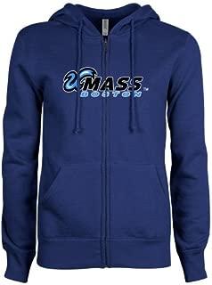 CollegeFanGear UMass Boston Enza Ladies Royal Fleece Full Zip Hoodie 'UMass Boston Horizontal'