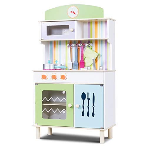 COSTWAY Kinderküche mit Ofenhandschuh und Holzkochgeschirr, Spielküche mit großem Stauraum, Kinderspielküche, Spielzeugküche für Kleinkinder (Grün)