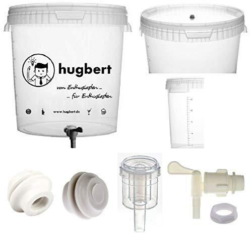HUGBERT Set 4, 15/17L, Gärbehälter mit Skala Ablaufhahn Gärungsrohr Dichtgummi