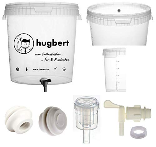 HUGBERT Set 4, 30/33L, Gärbehälter mit Skala Ablaufhahn Gärungsrohr Dichtgummi