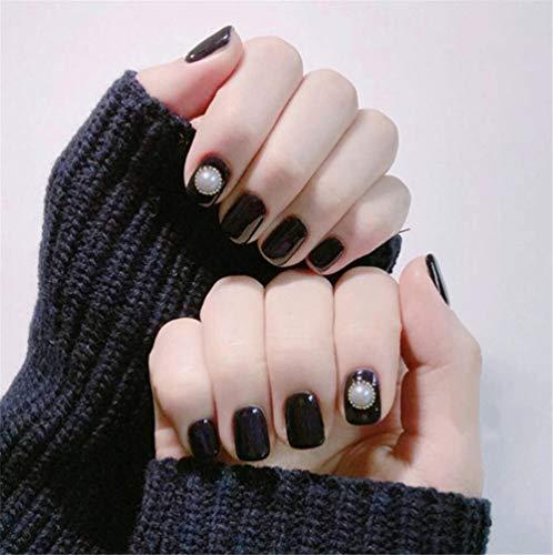 CSCH Faux ongles Fake Nails Press on Nails Multi Designs Black Decor Glitter False Nails Stick on Nails Glue Nail Display Nail Art Tips with Glue