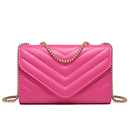Dasein Women Small Quilted Crossbody Bags Stylish Designer Evening Bag Clutch Purses and Handbags with Chain Shoulder Strap (Fuchsia)
