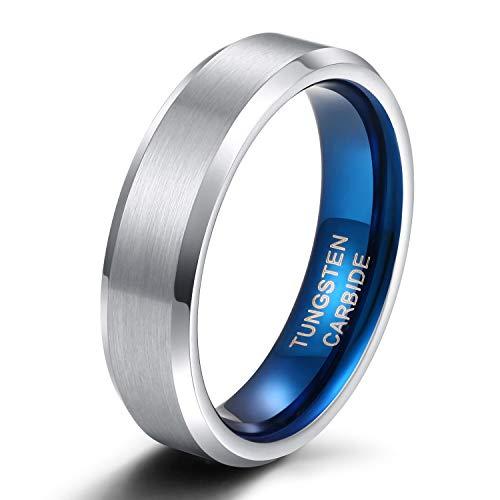 Easunny Damen Herren Ringe aus Wolfram Gebürstet Silber und Blau Verlobungsringe Trauringe Hochzeit Band 4mm 6mm 8mm Größe 47 to 72 (6mm,61 (19.4))