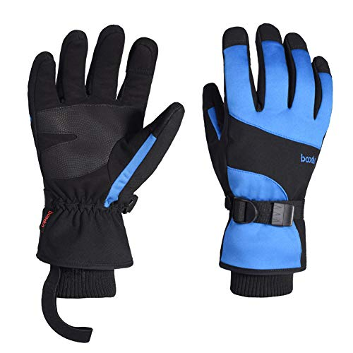 Guantes de Esquí para Hombre Mujer, 28-29cm Pantalla Táctil Guantes de Invierno Cálidos, Anti-Nieve, Impermeables, Resistentes al Viento, para Snowboard, Ciclismo, Moto, Escalada - L, Azul