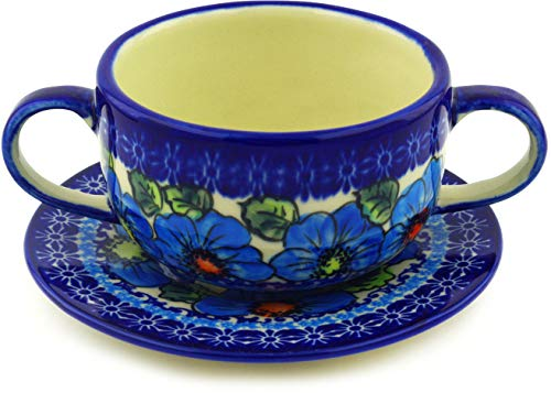 Polish Pottery Bouillon Cup with Saucer 19 oz Bold Blue Poppies UNIKAT