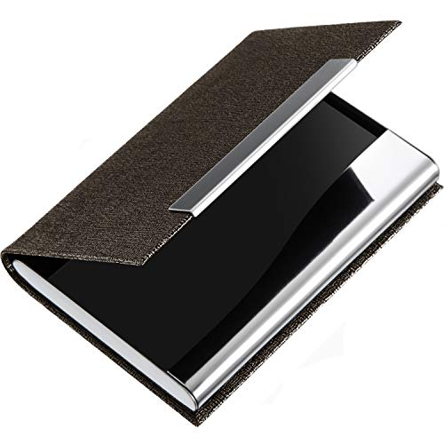 Business Name Card Holder PU Leather and Stainless Steel Multi Card Case Wallet Credit Card Holder with Magnetic Shut ID Card Case Holder for Men and Women (Brown)