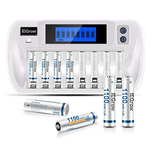 iEGrow Batterie Ladegerät mit 8X 1100mAh Akkus AAA, Akkuladegerät für AA AAA NI-MH NI-Cd wiederaufladbare Batterien, 9-Fach Batterienladegerät mit LCD Display