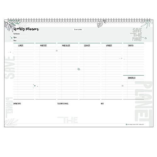 Planning Settimanale da Tavolo SPIRALATO Green Perpetuo in Carta ECOLOGICA 100% - Planner Agenda Appuntamenti con Note (42x30)