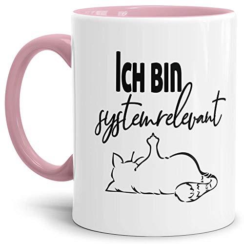 Tasse mit Spruch - Systemrelevant - Katze - Kaffee-Tasse/Arbeit/Job/Lustig/Erinnerung Krise Virus 2020 - Innen & Henkel Rosa