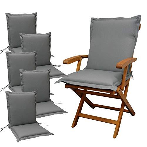 6 x indoba - Sitzauflage Hochlehner Serie Premium - extra dick - Grau