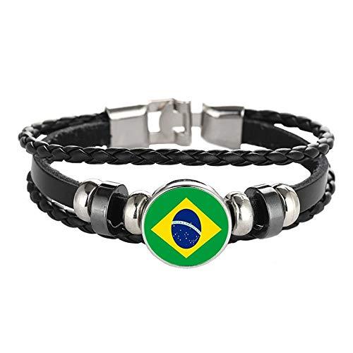 Wedare Souvenir Bandera de Brasil Pulsera Trenzada Cadena de Cuero Pulsera de Cristal Recuerdo, Pulsera Hecha a Mano de Moda para Hombre y Mujer día