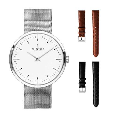 Nordgreen Infinity Skandinavische Klassische Uhr Unisex in Silber Analog Quarzwerk 10042 (32mm, Braun & Grau)