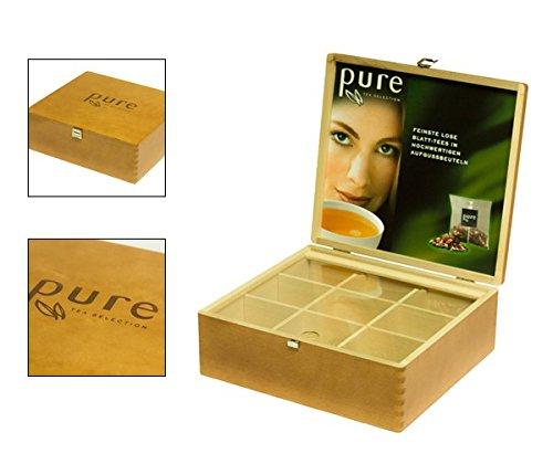 Pure Tea Selection exklusive Tee-Box aus Holz für 9 Sorten, Holzbox