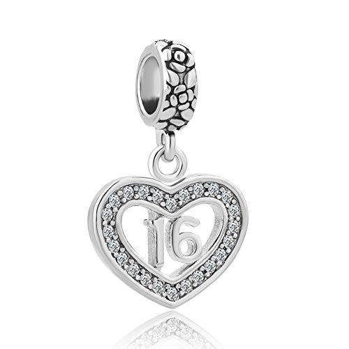 Charmed Craft corazón 18coming-of-age Sweet 16cumpleaños regalo con cristales de charms Beads para pulseras -  -