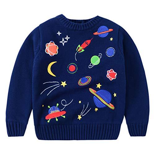 LAUSONS Kinderpullover Stricken Jungen Winterpulli mit Universum Motiv Navy blau 3-4 Jahre/Größe 110