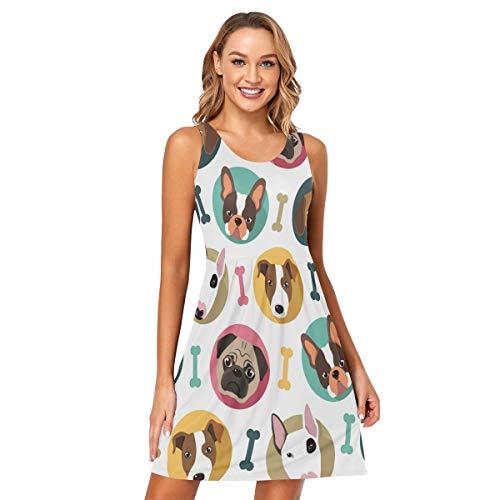 DOMIKING Vestido sin mangas para mujer, diseño de hueso de perro, sexy, sin mangas, talla S