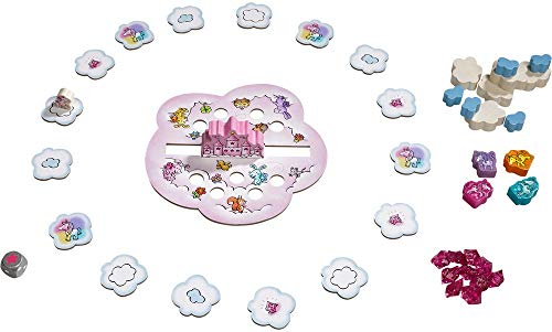 Image of HABA Unicorn Glitterluck Cloud Stacking - A Cooperative Roll & Move Dexterity Game for Ages 4 and Up (Made in Germany)