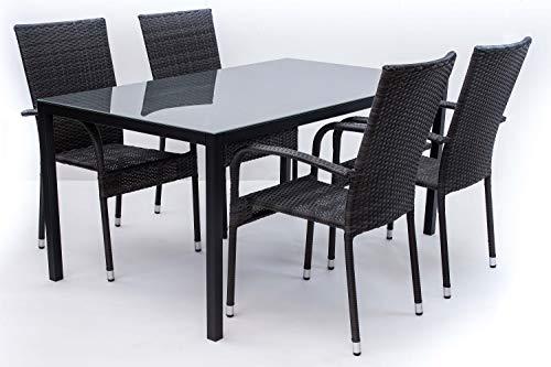 AVANTI TRENDSTORE - Arezzo - Set da Giardino Composto da Tavolo in Metallo con Superficie in Vetro e Quattro sedie impilabili in Rattan Sintetico (Set Grande)