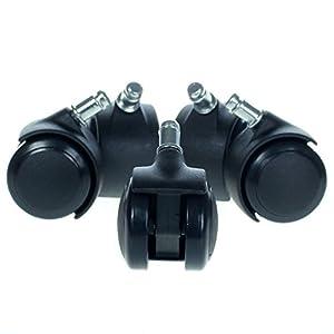 HIMRY KXD3200–Ruedas para Silla de Oficina, 5Unidades, para parqué, 11mm, para Suelos Duros, Color Negro