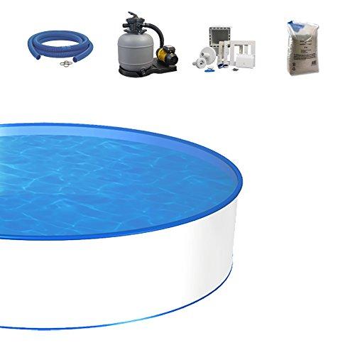 POWERHAUS24 Poolset, Größe & Tiefe wählbar, 0,8mm Stahlwand, 0,6mm Poolfolie, Sandfilteranlage SF und Filtersand, Skimmer- und Schlauch-Set-600 x 150cm