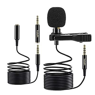 """VoJoPi Clip on Microphone, Lavalier Lapel Microphone with 79"""" Extension Cord, Professional Omnidirectional Condenser Microphone for PC, Smartphone, Camera, Video Recording, Podcast, Conference"""