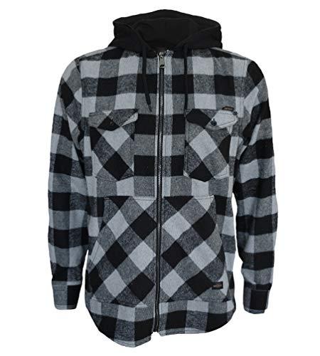 ROCK-IT Apparel® Camisa de Franela de Manga Larga de Hombre a Cuadros con Capucha Camisa de leñador Camisa de Cuadros Camisa Casual Premium Camisa Tallas S-5XL Hechas en Europa Gris-Negro XL