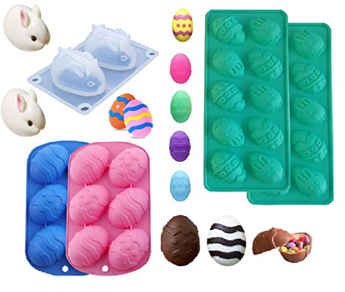 Silicone Easter Egg Molds and Rabbit Mold 6 Cavities Bunny for Chocolate DIY Cake 3D Cute Rabbit Shaped Baking Mould Pan for Adult Kids with 2Pcs Wooden Hammers