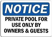 2個 所有者とゲストのみが使用するプライベートプールに注意してください錫サイン金属プレート装飾サイン家の装飾プラークサイン地下鉄金属プレート8x12インチ メタルプレートブリキ 看板 2枚セットアンティークレトロ