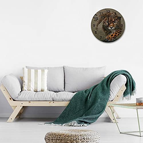 Reloj de Pared Digital Redondo,Fondo Jaguar Animales Acuarela Depr, Reloj de Pared sin tictac de 10 Pulgadas Reloj de Pared silencioso con Pilas, para el hogar / Oficina / Escuela / Cocina