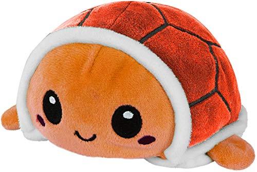 Chagoo Tortuga Reversible de Peluche de Felpa Animal de Peluche Mood Plush Flip de Doble Cara Muestra tu Estado de ánimo sin (Naranja, 20cm)