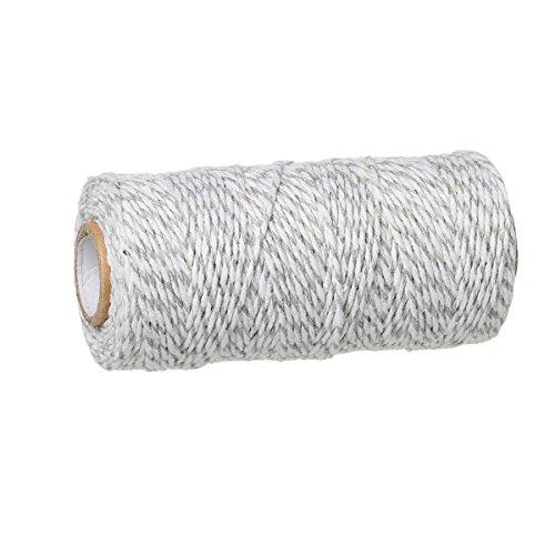 SiAura Material ® - 92m Schnur aus Baumwolle, 1,5mm dick, grau – weiß gestreift