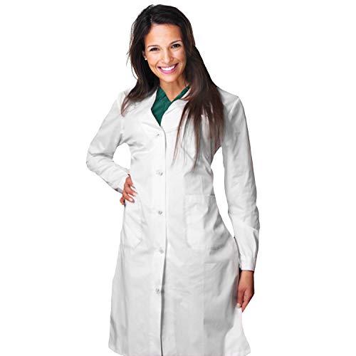 AIESI® Bata de Laboratorio Medico para Mujer blanco de algodón 100% sanforizado MADE IN ITALY talla 46