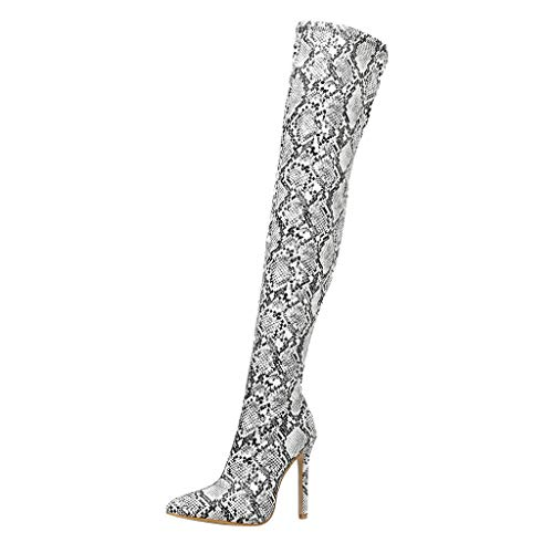 Hatop- Women's Over The Knee Fashion Boots Snakeskin Leather Waterproof Pointed Toe Stiletto High Heel Thigh High Boots