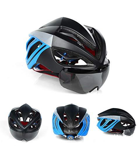 ACOCO Fahrradhelm Magnetbrille Mit Abnehmbarer Magnetischer Sonnenblende, Fahrradhelm Mit Abnehmbarem Sonnenhut, Geeignet Für Erwachsene Männer Und Frauen,Blau