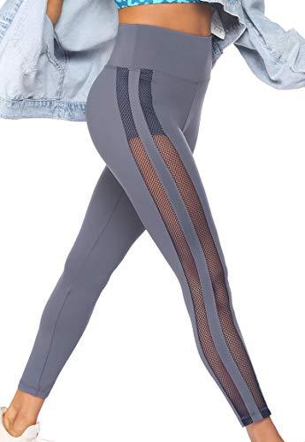 COOrun Sporthose Damen Lang Leggings Sport High Waist Yoga Hose Sportleggins Laufhose Trainingshose Sexy Eng Elastisch für Freizeit Fitness Grau L