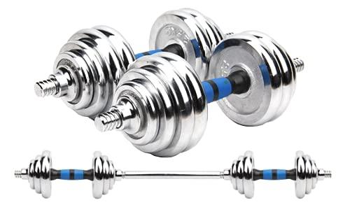 NIMO - Set di manubri regolabili con bilanciere e dischi, convertitore per sollevamento pesi, esercizi in casa, con panca pesi, ecc., 1, 20kg