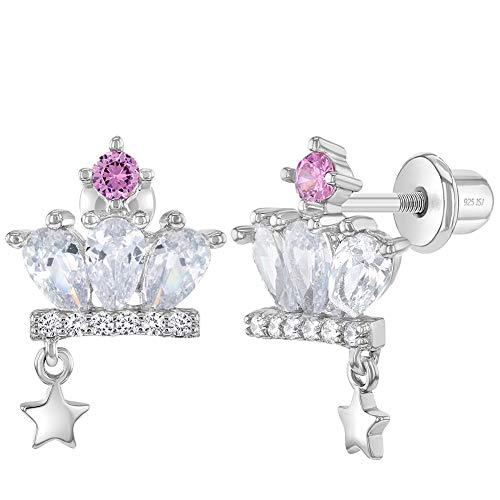 925 Sterling Silver White-Pink Cubic Zirconia Princess Crown Earrings Set With Screw Back Locking for Young girls and Pre Teens Royal and Party Attires