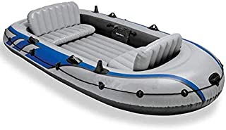 Inflatable Boat Kayak Drifter Four-person Inflatable Boat 4-person Rubber Rowing Boat Thick Gray with Aluminum Paddles and...