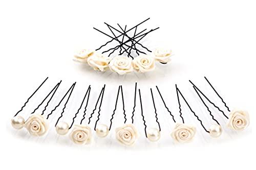 15 rosas y perlas horquillas - Joyas para el cabello - negro - Beige