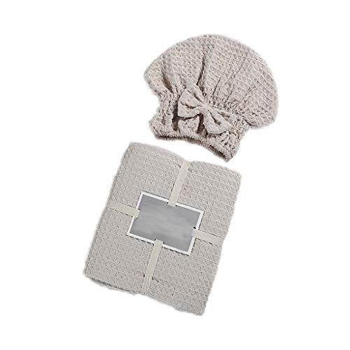 ZIRAN Toalla de baño Gorro de Ducha con Lazo Traje de Dos Piezas Cabello seco Gofre de algodón para Adultos Toalla de baño Suave-Algodón