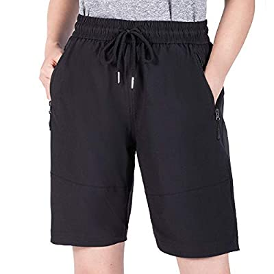 Wespornow Women's-Quick-Dry-Cargo-Shorts for Hiking, Camping, Travel (Black, X-Large)