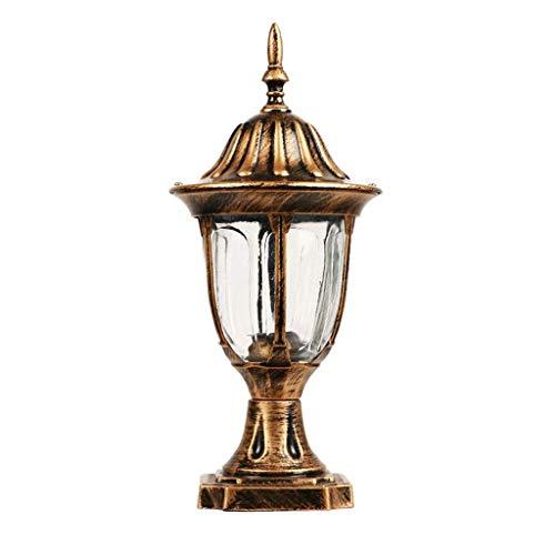 NXYJD Retro Pilar de la lámpara, Columna Impermeable Jardín Villa Jardín de luz Retro Cristal de Aluminio del Faro estigma Poste del Porche Patio lámpara de Calle (Color : Bronze)