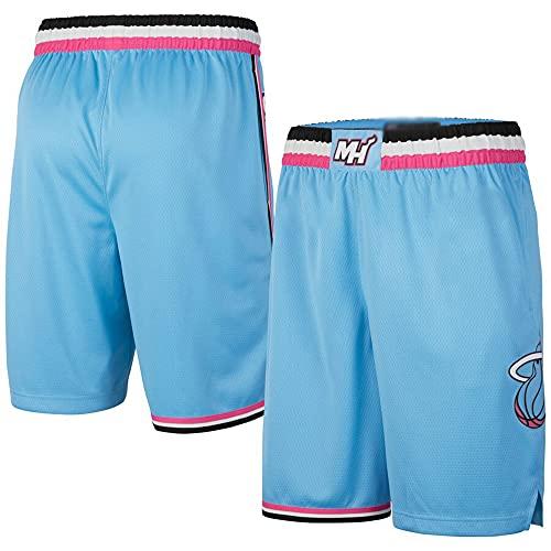 Wo nice Pantalones Cortos para Hombres, Miami Heat NBA Transpirable Resistente Al Desgaste Fan De Baloncesto Pantalones Cortos Deportes Al Aire Libre Fitness Shorts,Light Blue,S(160~170CM)