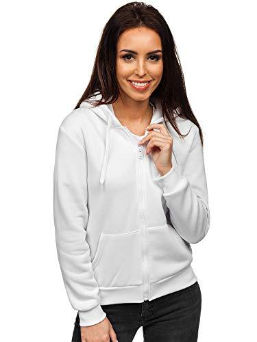 BOLF Damen Kapuzenpullover Sweatshirt mit Kapuze Sport Pullover Sweatjacke Hoodie Langarmshirt Farbvarianten Sweater Reißverschluss Fitness Training J.Style WB1005 Weiß L [A1A]