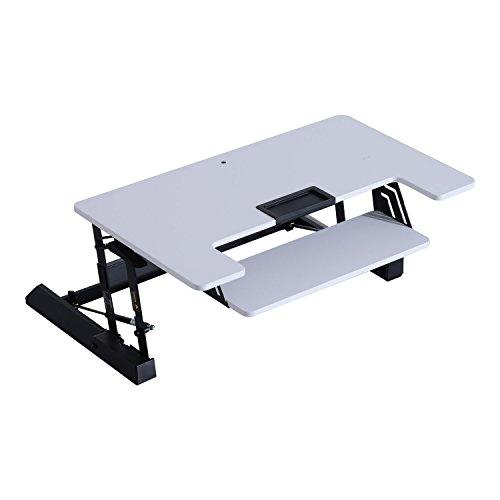 HOMCOM Scrivania Sit Stand per Lavoro in Piedi Altezza Regolabile, Bianco, 93x61.5x16.5-41.5 centimetri