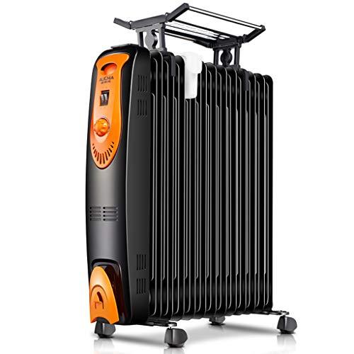 2000 W zwarte volle ruimte oliegevulde radiator, elektrische hoofdklokverwarmingsradiator, olieverwarmingstabletten voor slaapkamer, radiator-instelbare thermostaat