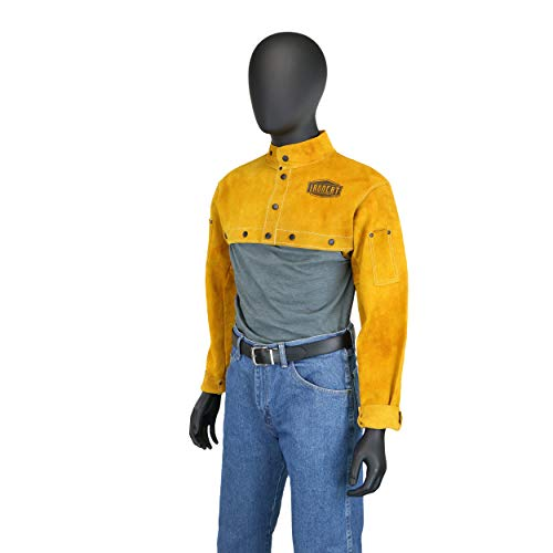 West Chester IRONCAT 7000 Cowhide Leather Welding Cape Sleeve - Golden Yellow, Medium Size Cape Jacket with Heat Resistance. Welding Gears