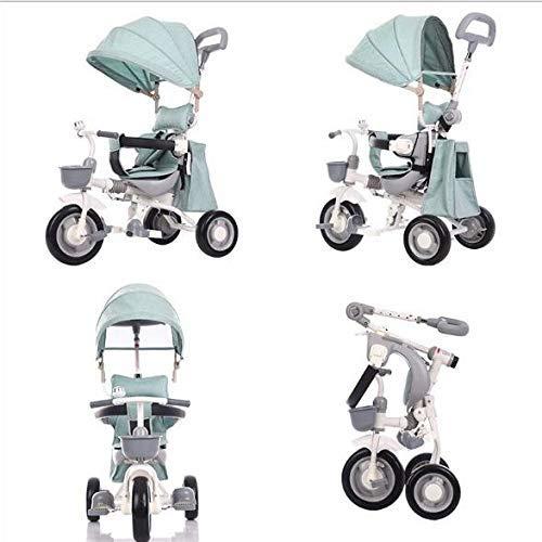 NBgycheche Triciclo Trike Triciclo Mano del bebé Empuje la Bici Triciclo Plegable con Paraguas del pabellón Asiento Ancho